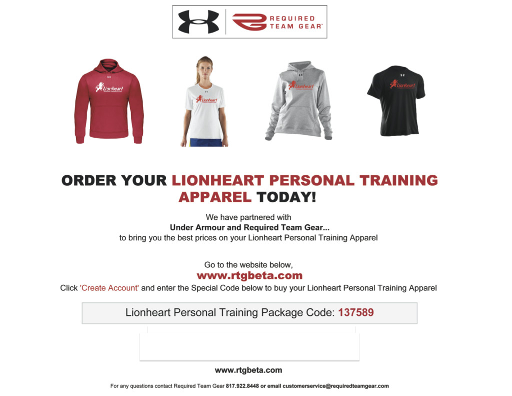 Lionheart Personal Training Apparel